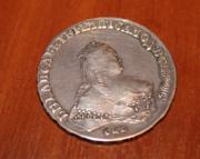 Монета Елизавета Петровна 1748 СПБ серебряный рубль