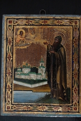 Икона с изображением преп. Варлаама Хутынского. Россия,  XIХ век.