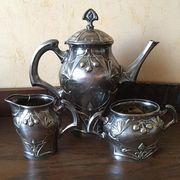 Изысканный чайный набор из 3-х предметов. Модерн. Фирма GAB,  1920 год