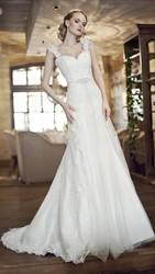 Свадебное платье из креп кружева белое белоснежное а-силуэт 42 44