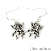 Миниатюрные серебряные серьги с паучками для девушки символ счастья